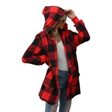 SENSERISE Jaqueta feminina felpuda de lã com capuz e frente aberta e estampa tie dye, casaco sherpa xadrez com bolsos, Red Plaid, L