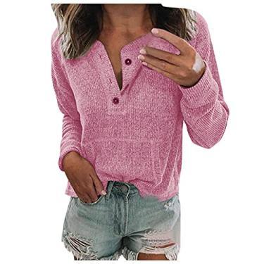 Imagem de Blusa feminina Henley lisa casual 2021 com botão e gola V, manga comprida, pulôver macio e confortável com bolsos, B: rosa, M