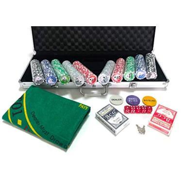 Imagem de Maleta de Poker 500 Fichas Oficiais Numeradas Kit Completo