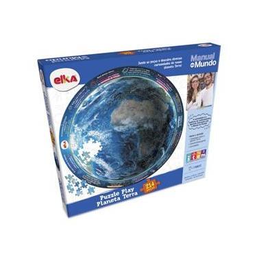 Imagem de Puzzle Planeta Terra 214 Pecas Manual Do Mundo Elka