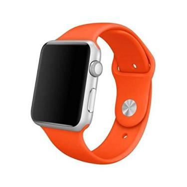Pulseira Sport em Silicone para relógio Apple Watch 42mm Series 3 2 1 (Laranja 42mm ML)