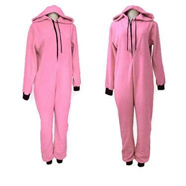 Pijama macacão em pelúcia (P, Rosa)