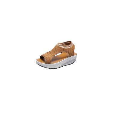 Sapatos de malha femininos da moda sandálias de verão Peep Toe Sapatos confortáveis com parte inferior grossa