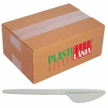 Faca Plástica Refeição Plastilânia Branca 1000 Unidades 1025052
