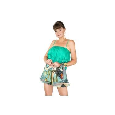 Short Feminino Estampado Tropical Cintura Alta Lenço Casual Azul Turqueza
