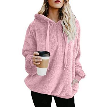 Moletom com capuz feminino SHOWNO para outono e inverno plus size Sherpa felpudo solto, rosa, XXL
