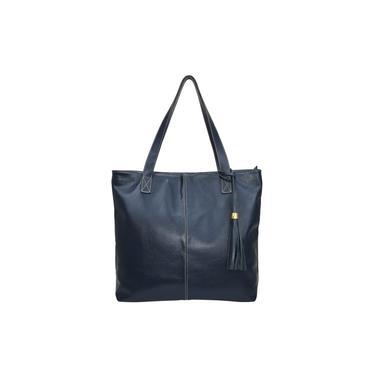 Bolsa Sacola Azul Shop Bag em Couro Legítimo Metais Dourados Madamix