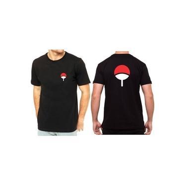 Camiseta Camisa Unissex Naruto Clã Uchiha Leque Sasuke Itachi Sarada Anime Geek Preto