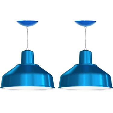 Kit 2 Pendentes Bedd 14'' Retrô (Azul Metálico / Branco)