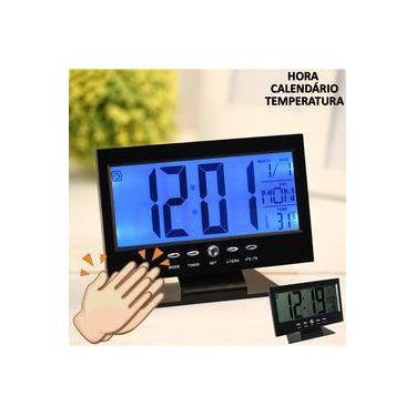 Imagem de Relógio de mesa digital LCD led acionamento sonoro despertador termometro PRETO CBRN01422
