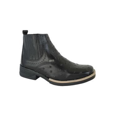 Bota Texana Masculina Avestruz Cano baixo Couro Latego Chocolate - 4ssss calçados