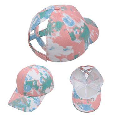 Beerty Boné de beisebol feminino, cor contrastante, estampa tie dye-dye, boné de beisebol de algodão, vazado, cruzado no rabo de cavalo, 1, 54-60cm(21.26-23.62in)