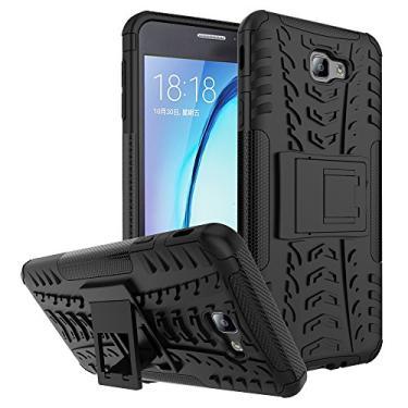 Capa para Galaxy On7 (2016), à prova de choque, Galaxy On7 (2016), capa híbrida de camada dupla à prova de choque, capa rígida com suporte para Samsung Galaxy On7 de 5,5 polegadas (2016) (preto)