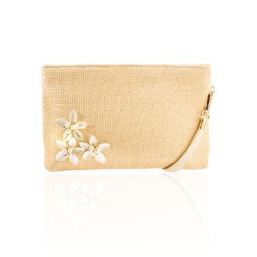 545f2d69d5 Bolsa Carteira Flores Dourado Bege