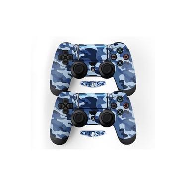 Adesivo Pra Controle Ps4 Camuflado Azul - Não É Controle