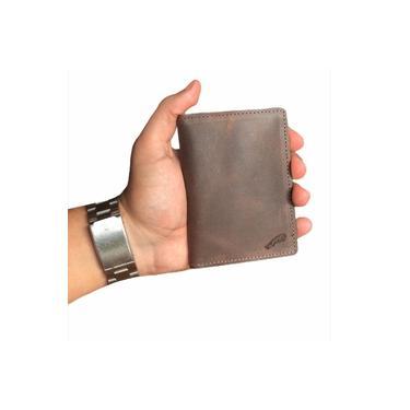 Carteira Slim Tabaco Porta Cartão Rg Couro