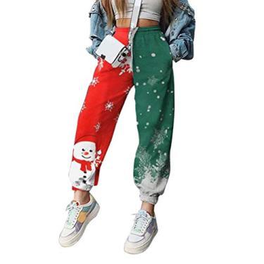 Calça de moletom feminina Merry Christmas com cordão para correr, ioga, lounge, xadrez, boneco de neve, corrida, fitness, calça, C-9, XX-Large