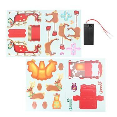 TOYANDONA Quebra-cabeças de papel 3D de Natal, trenó de rena, kits artesanais, decorações de Natal, presentes para adultos, crianças, brinquedos de família