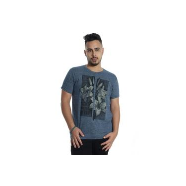 Camiseta Masculina Slim Fit Manga Curta Estampada Granite Azul