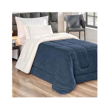 Cobertor Coberdrom Pele de Carneiro Solteiro Azul Marinho Dupla Face 2,40m x 1,70m Tecido Sherpa