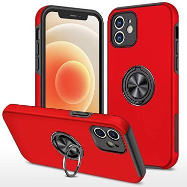 SHUNDA Capa para iPhone 12 Mini, capa ultrafina de silicone macio TPU com absorção de choque, capa com suporte magnético para iPhone 12 Mini 5,4 polegadas - vermelha