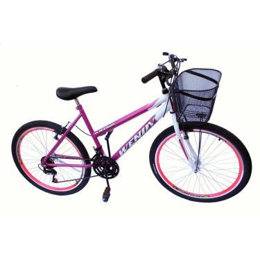 Bicicleta Aro 26 Wendy Fem C/Aero 18V,Pneu Slik Cor Pink