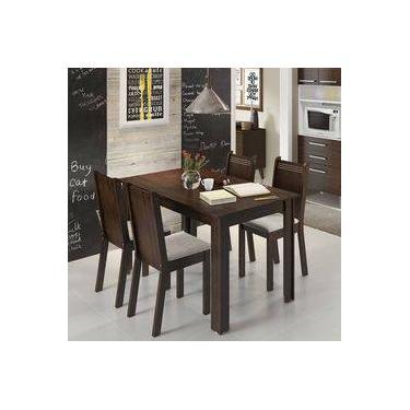 c9e50c1cb5b38 Conjunto Para Sala De Jantar Mesa Com 4 Cadeiras Rosie Madesa Tabaco Suede  Perola