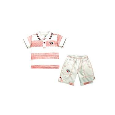 Conjunto Camiseta Polo e Bermuda São Paulo, Rêve D'or Sport, Criança Unissex, Branco/Vermelho, M