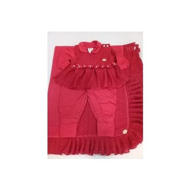 Saída Maternidade Menina Vermelha em Malha de algodão com Rendas