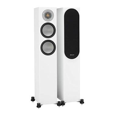 Monitor Audio Silver 200 - Par de caixas acústicas Torre para Home Theater Branco Laqueado