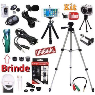 Kit Youtuber Microfone De Lapela Celular + Tripé 1,30m Câmera Celular
