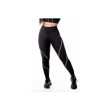 Imagem de Calça Legging Feminina Fitness Academia Preta com Detalhe Lateral em Vivo Branco Cintura Alta