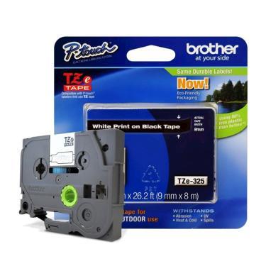 Fita Laminada p/ Rotulador Brother TZe-325 Branco Sobre Preto 09mm