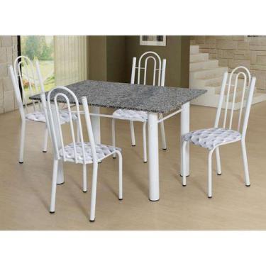 Imagem de Conjunto De Mesa Luiza Com 4 Cadeiras Branca Capitonê - Artefamol