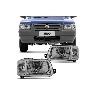 Farol Principal Fiat Uno Economy Furgão Fiorino 2003 em Diante Lado Direito Máscara Metalizada