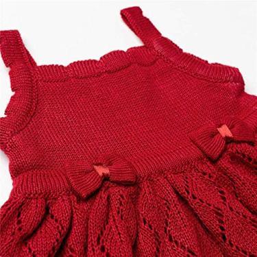 Vestido Bebê Tricot Vazado Laços Vermelho Grão de Gente