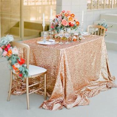 Imagem de Toalha de mesa retangular de lantejoulas rosa ouro glitter brilhante 50 x 50 polegadas para decoração de mesa de baquete de aniversário