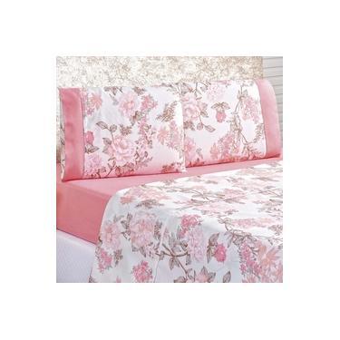 Imagem de Jogo de Cama Lençol Real Casal Queen Micro Percal 200 Fios 04 Peças Serene Floral Rosa