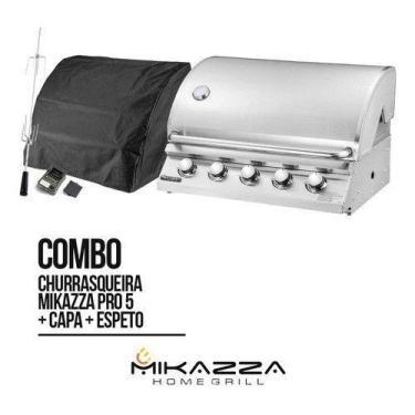 Imagem de Churrasqueira À Gás Embutir Mikazza Pro 5 + Capa + Espeto - Mikazza Ho