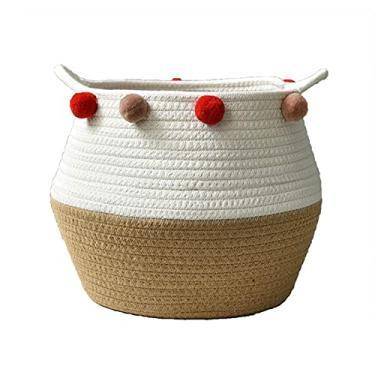 Imagem de luning Cesta de armazenamento grande – Cesta de corda de algodão, cesta de lavanderia, organizador de brinquedos para guardar roupas e cobertores de roupas, brinquedos, tampa de plantar, cesto de lavanderia com alça de referência