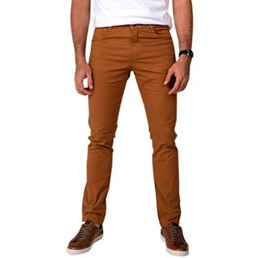Calça Jeans Sarja Masculina Skinny Slim com Lycra Caqui - 42