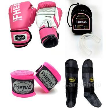 Kit Muay Thai Fheras Luva Caneleira Bandagem Bu. 12oz Rosa