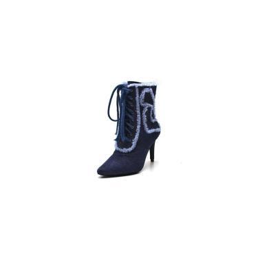 Bota Cano Médio Bico Fino Jeans Azul  feminino