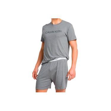 Pijama Calvin Klein Masculino Short Curto Viscolight Cinza Mescla