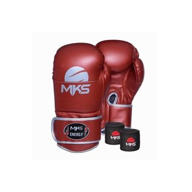 Kit Luva Boxe Mks Energy V2 Metalic Red Bandagem 2,55m 18 Oz
