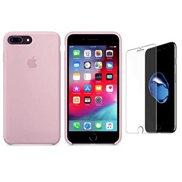 Capa Capinha iPhone 7 E 8 Plus Aveludada Película Vidro (Rosa)