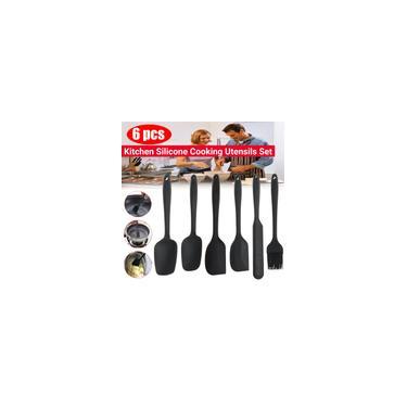 Imagem de Conjunto de utensílios de cozinha de silicone preto com 6 peças para espátula antiaderente