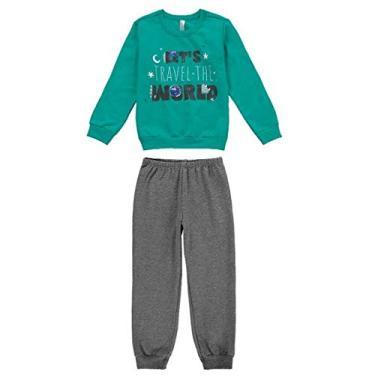 Pijama Moletom Infantil Menino Malwee Liberta Ref. 77446 Cor:Verde;Tamanho:6