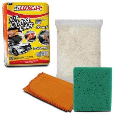 Kit Limpa Car para Limpeza Polimento Automotivo Luxcar 3 em 1 com Flanela Esponja e Estopa