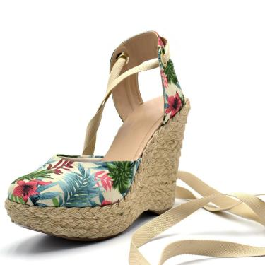 Sandália Plataforma Gisela Costa Floral Bege  feminino